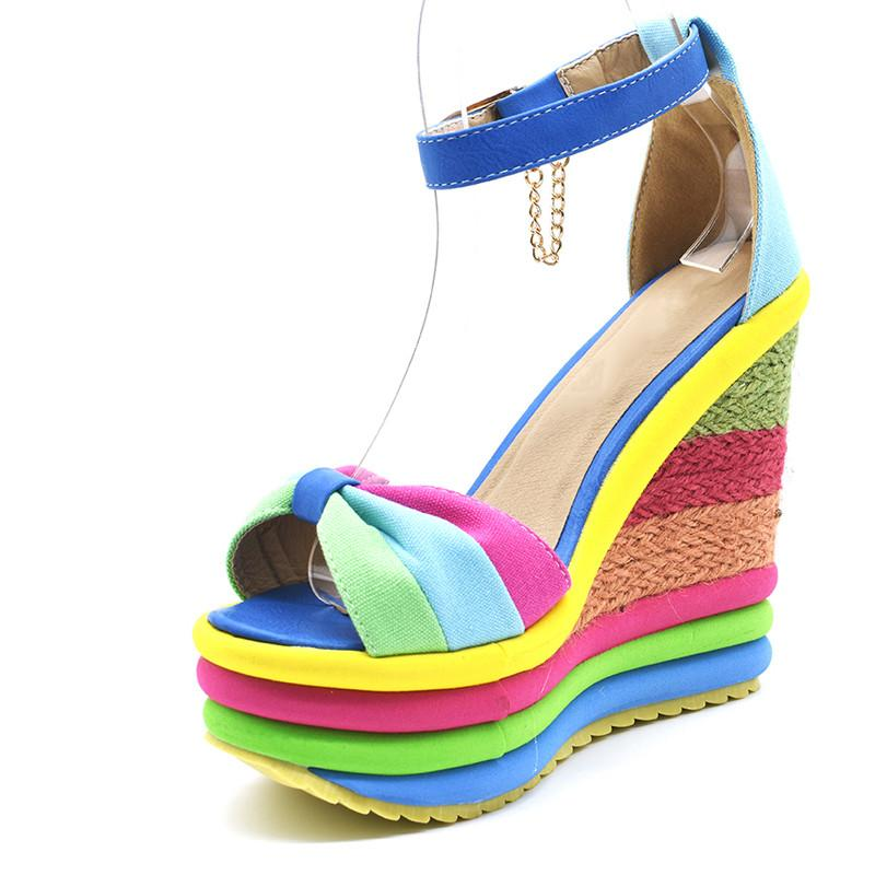 2019 Summer Ankle Strap Sexy Bohemia Rainbow Peep Toe Platform Sandals for Women Ladies Blue Denim Wedges Sandal