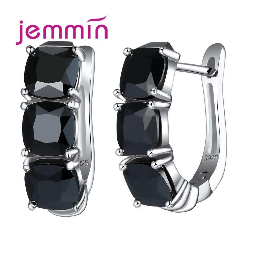 Jemmin 럭셔리 여성 후프 귀걸이 블랙 컬러 크리스탈 라인 석 U 모양 핫 판매 925 스털링 실버 파티 패션 쥬얼리