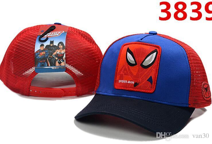 뜨거운 판매 남자 여자 디자이너 여름 많은 스타일 성인 만화 스냅 백 메쉬 슈퍼맨 배트맨 스파이더 맨 야구 모자 힙합 모자 야외 뚜껑