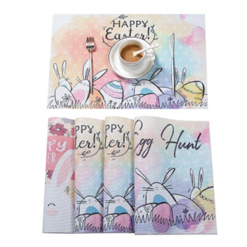 Pasqua tovagliette Coniglio antiscivolo Table Mats Vintage Bunny con uovo colorato Floral Placemat tavolino della decorazione JK2002