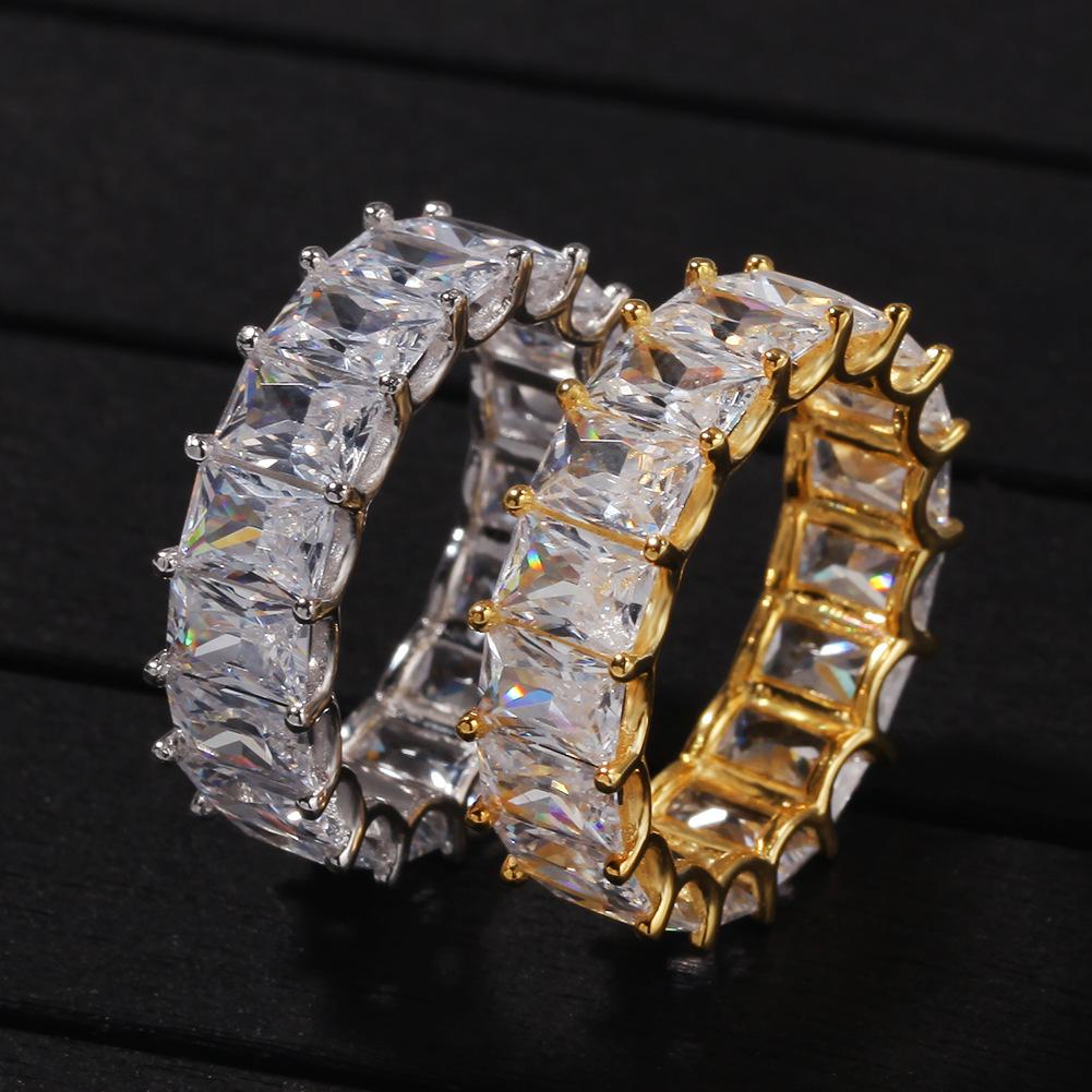 Iced Out Diamond Ring Luxury Designer Jewelry Mens Rings Hip Hop Bling Gold Silver Wedding Engagement Love Promise Charms Championship Gift