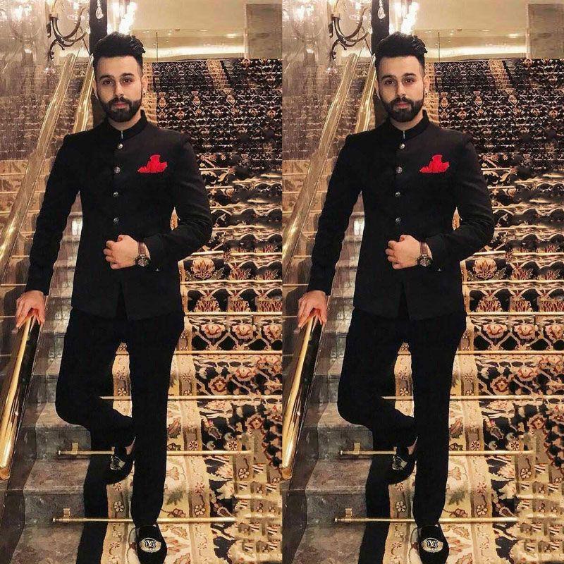 Indien Stil Stehen Collor Schwarz Anzüge Männer für Hochzeit Bräutigam Smoking Prom Party 2 Stück Kostüm Homme Slim Fit Terno Masculino Trajes de hombre