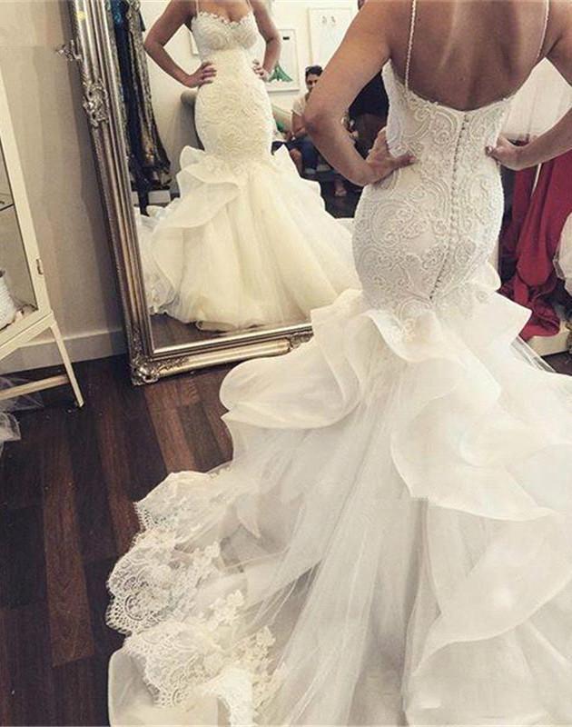 2019 sexy en dentelle de mariée sirène Robes longues chapelle train bretelles spaghetti Volants Tulle Robes de mariée mariage Backless Robes Appliques