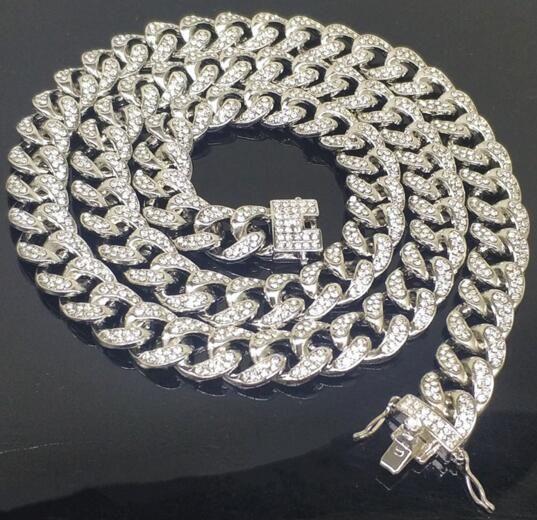 Mens Miami Cuban Link Bracelete Real Sólido 925 Sterling Prata Preenchido Água Diamante