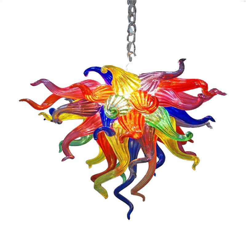 إضاءة المنزل مورانو زجاج الفم في مهب البورسليكات الفن مشرق الملونة الكريستال الثريات قلادة مصابيح الإضاءة LED لمبة