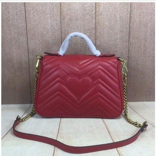 Hotsales top quality genuine leather top handle bag luxury designer women handbag tote chain shoulder flap bag 26cm
