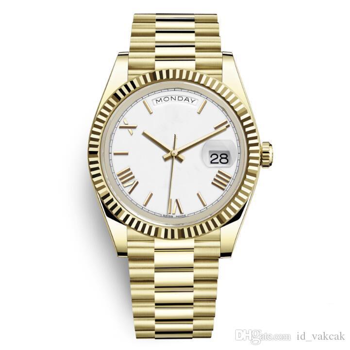 1 jour date nouvelle montre de luxe hommes jour jour verre saphir doré montre blanche couronne automatique concepteur romain nombre président montres orologio w