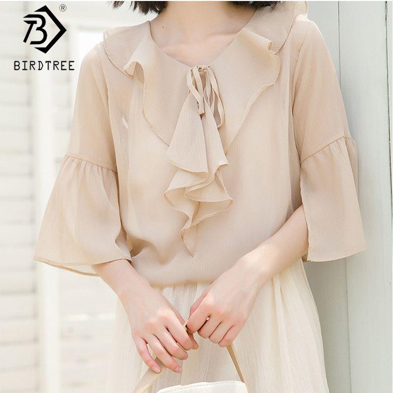 2020 printemps et en été Nouveau Femmes creux en mousseline de soie Chemisier à manches courtes de sortie O-Neck Casual Shirt Tops sélectionl T03904K