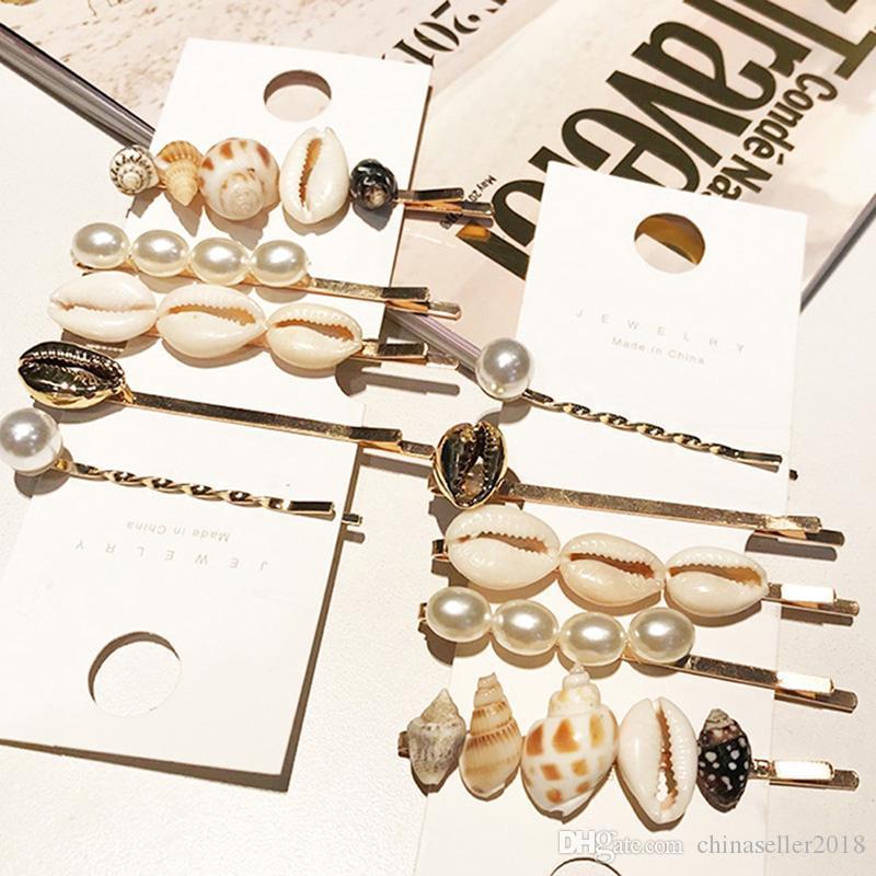 Korea Fashion Shell Conch Hair Clips For Women Handmade Braided Hairpins Imitiation Pearl Hair Clip Accessories
