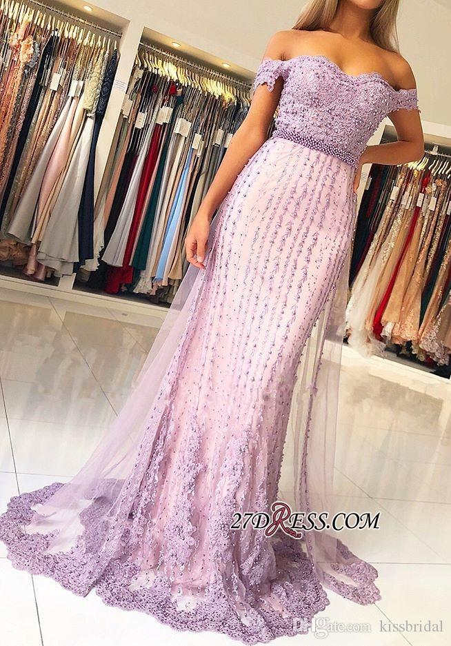Mermaid Prom Dresses 2019 Off the Shoulder Pearls Lace Applique Formal Evening Gowns Cocktail Party Ball Dress Celebrity Red Carpet Gown