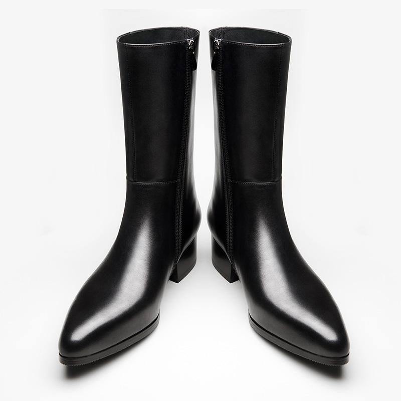 Autumn winter new mens genuine leather boots high heels fashion pointed toe zip inside plush warm men boots cowboy boot