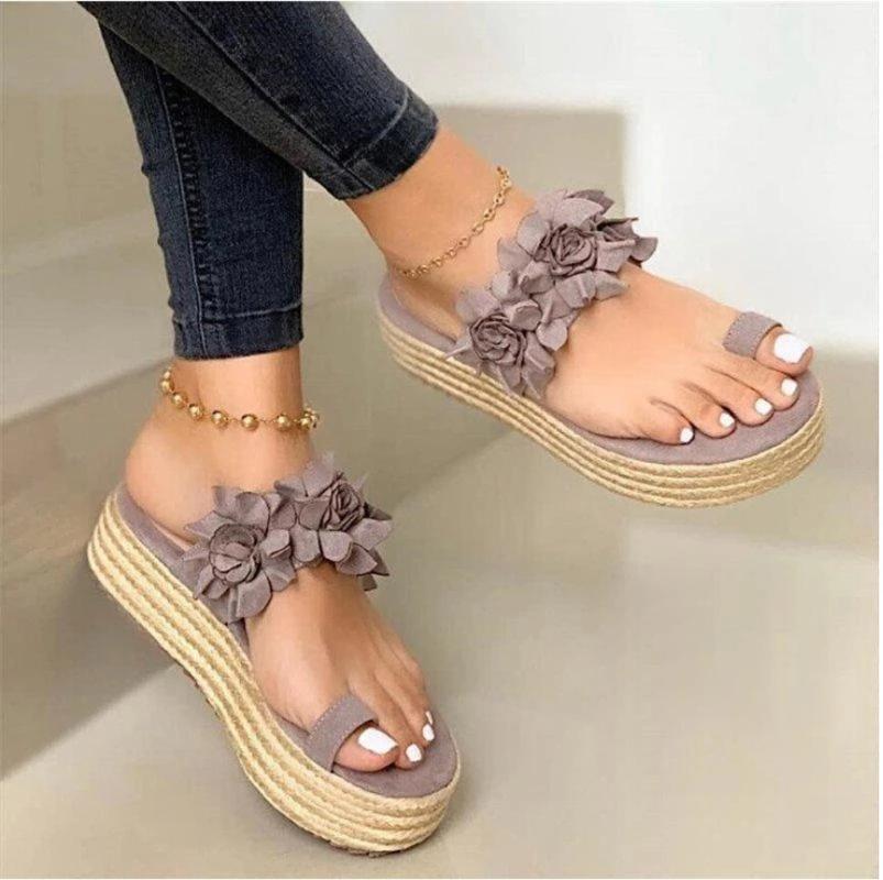 Transpirable lino tirón verano de las mujeres ocasionales del slip flor diaria En sandalias de la plataforma inferior grueso zapatillas zapatos de mujer # 35