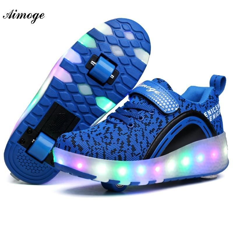 Aimoge LED de las zapatillas de deporte de luz con las ruedas muchacho de la muchacha del patín de ruedas de calzado casual con la muchacha del rodillo Zapatillas Zapatos Con Rueda