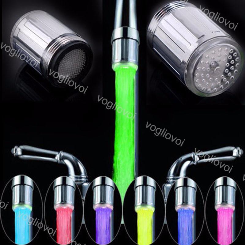 Gece Işıkları LED Su Bataryası Akışı Işık 7 Renkler Değişen Glow Duş Değişim Rengi Su Geçirmez Kapalı Aydınlatma Mutfak Banyo DHL Için DHL