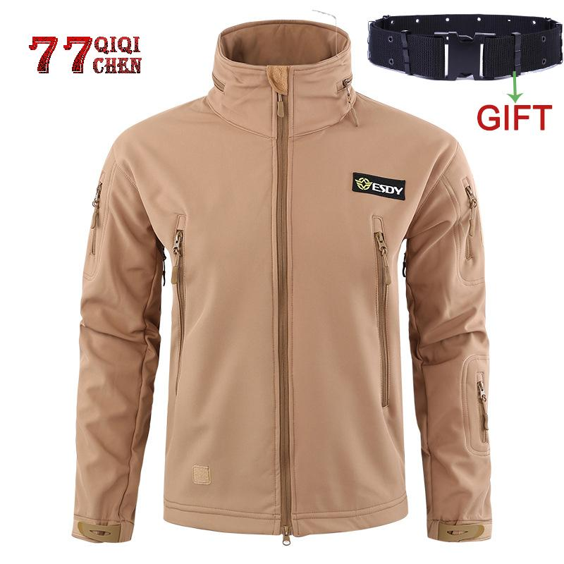 Winter Fleece Waterproof Windproof Jackets Men Soft Shell Camo Jacket Coat Male New pocket Hooded Tactical Army Outwear