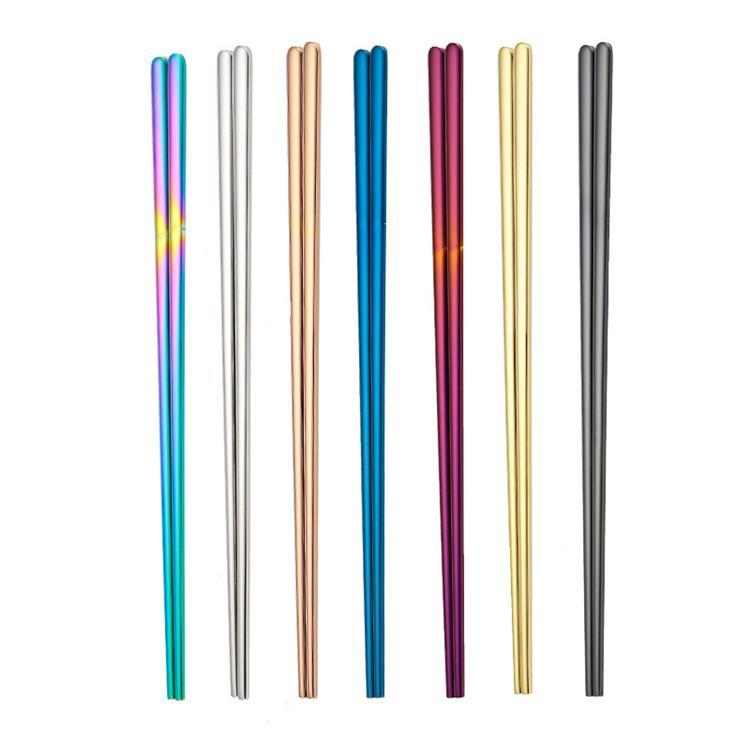 Logotipo Personalizar Coreano Chopstick Qua Aço Inoxidável 304 talheres