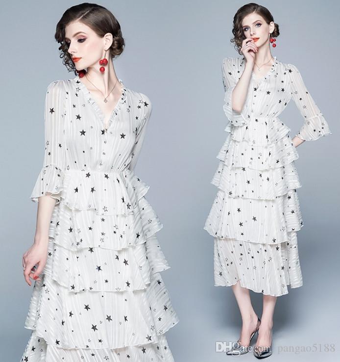 Новейший дизайнер женской одежды французского Lotus Edge с V-образным вырезом с коротким рукавом и кружевной вышивкой из шифона с вышивкой платья средней длины