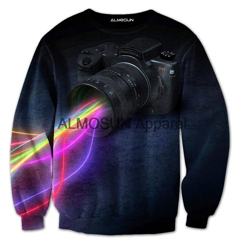 Lente de la cámara ALMOSUN Línea 3D todo la impresión cuello redondo Sudaderas inconformista Streetwear photography Casual Unisex