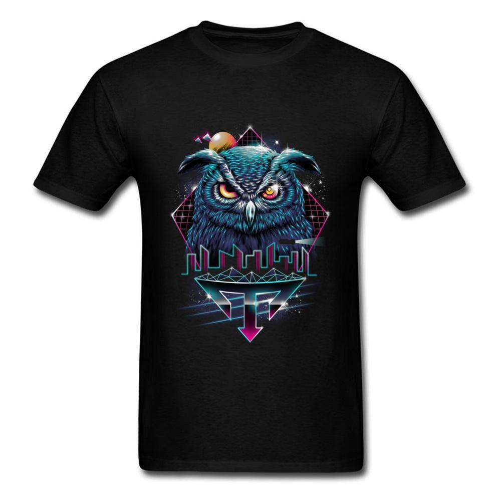 Nocturnal Animod Camiseta Hombre de la ciudad Negro Ropa Búho frío Camiseta Moda Hip Hop Camiseta de algodón Padre Cumpleaños Tops