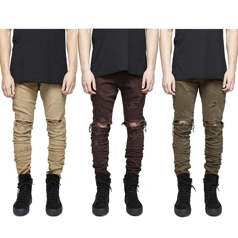 2016 homens jeans de alta qualidade Calça Casual Skinny Sólidos Hip Hop Calças buracos danos Pants Men Corredores emagrecimento