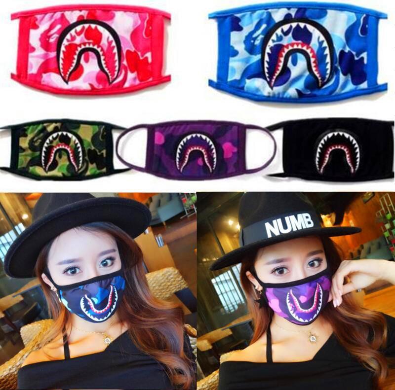 Unisex banho macaco cara tubarão Máscara Designer Boca-de mufla cara preta Máscaras Camouflage Protector Ciclismo Tubarões máscara assustadora Máscaras Presentes Top