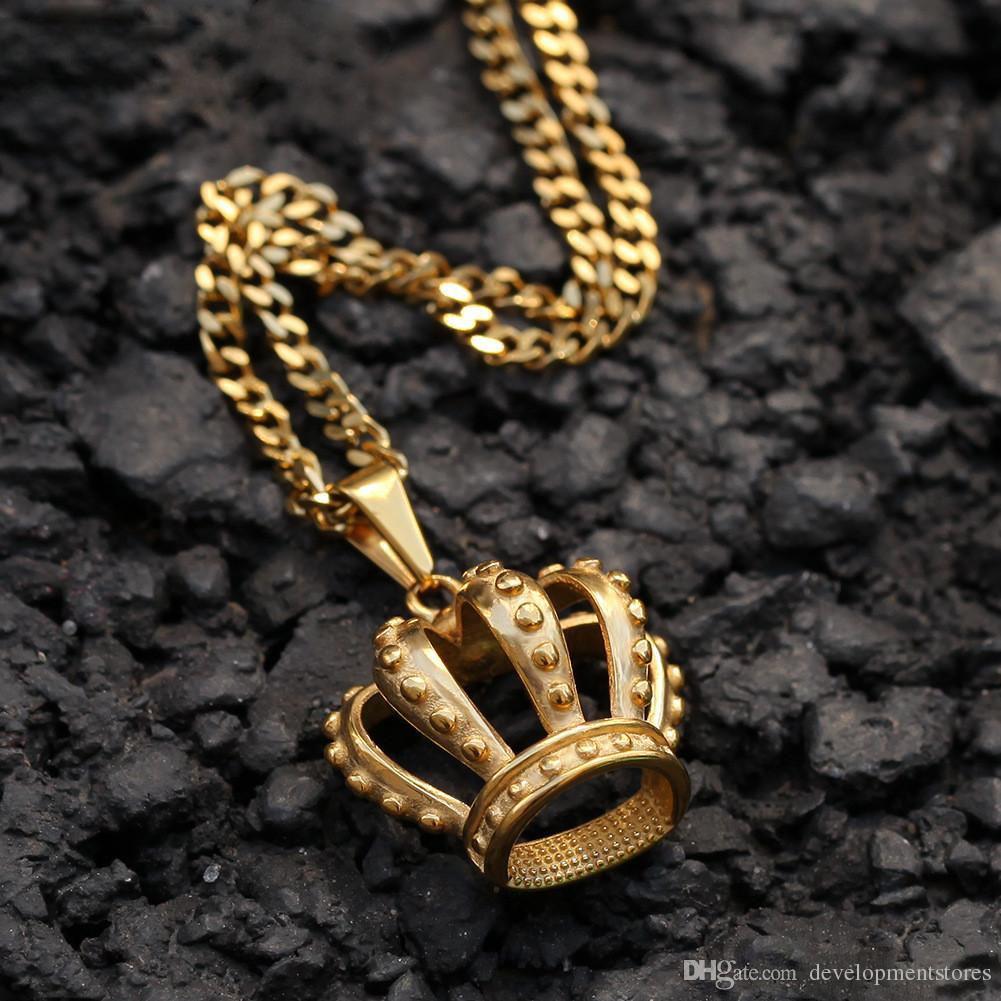 Хип-хоп из нержавеющей стали полая корона кулон вакуумный цвет позолоченный золотой кулон кулон мужские ювелирные изделия оптом