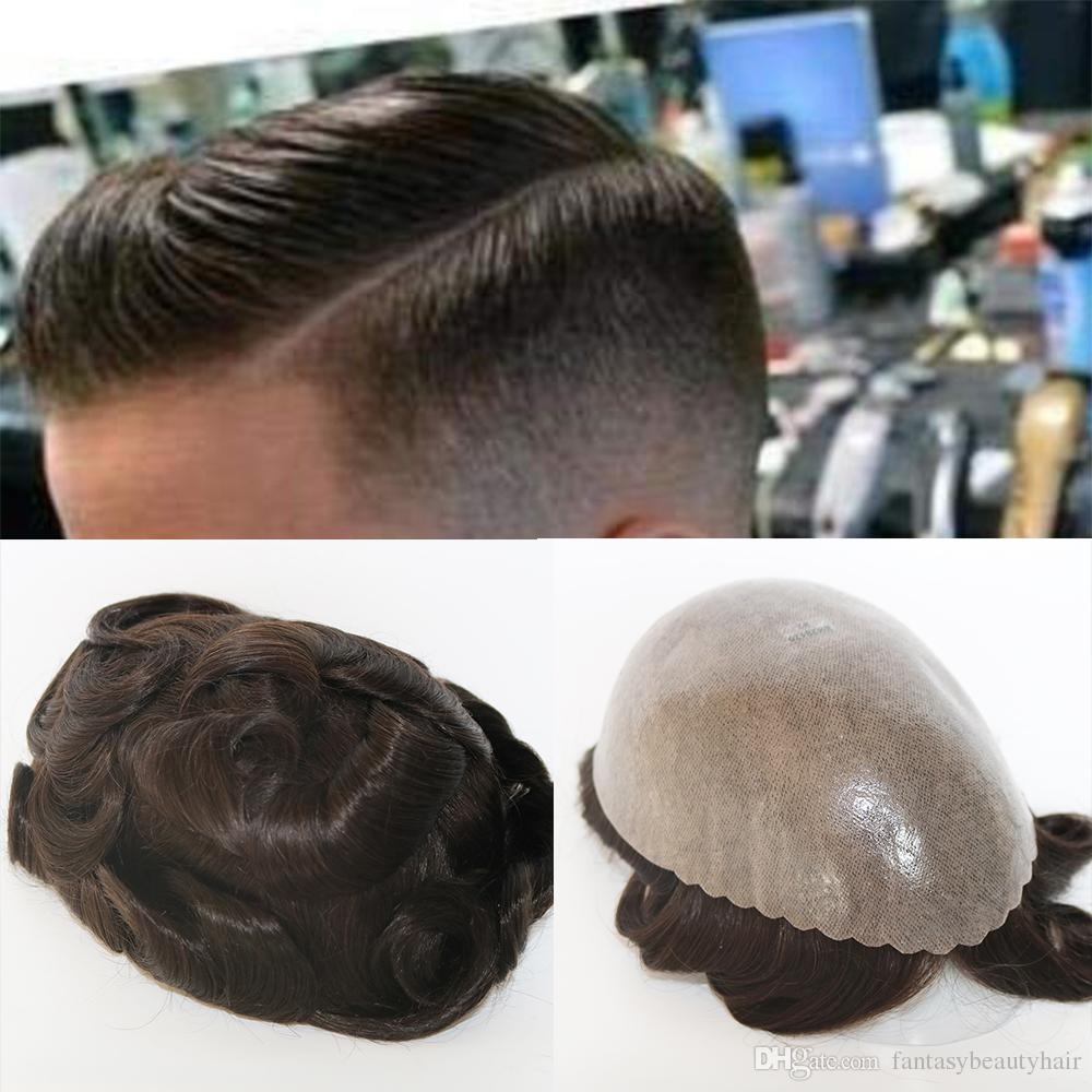 Durable 0.12 to0.14mm Skin Toupee for Men Men's Hair Pieces Replacement System #1B10 Color 100% Human Hair Mens Wig