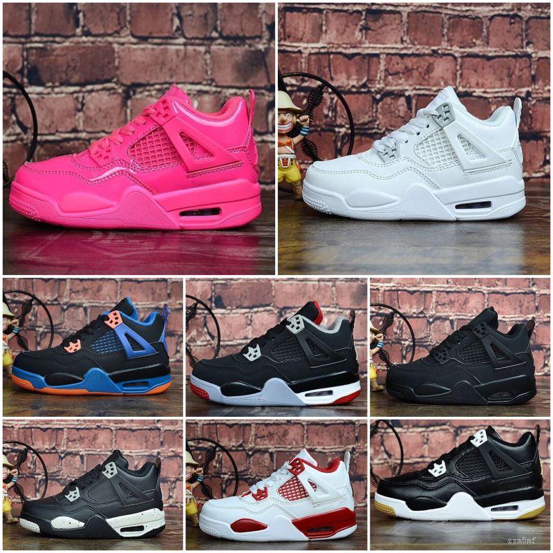 Nike Air Jordan 4 Mens J 4 scarpe da basket jumpman 4s Black Denim laser in bianco cemento pallido Citron Oreo tatuaggio bambini J4 volo aereo scarpe da ginnastica