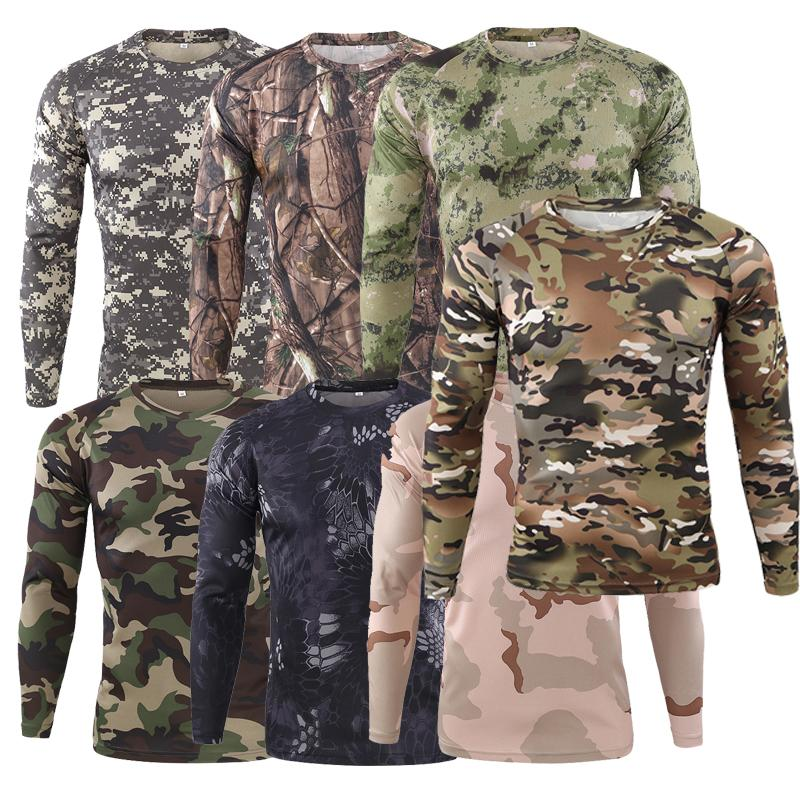 Men/'s Compression T-Shirt Gym Camo Pocket Long Sleeved Cool Dry Tight fit Tops