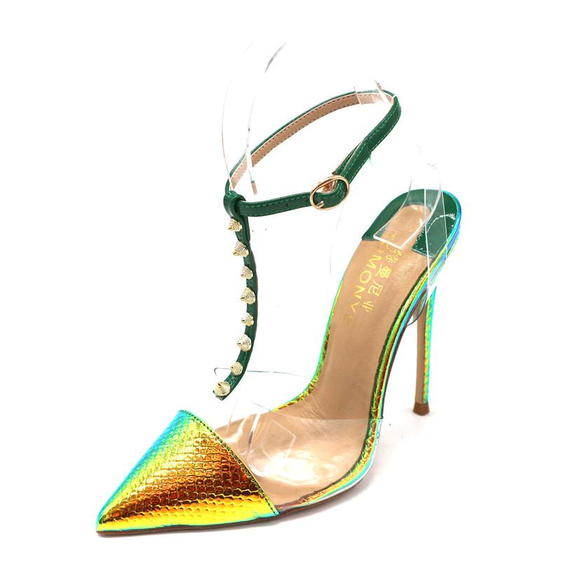 2020 mujeres de la señora boda de oro de serpiente pitón verde patente de cuero de la T-Correa clava los dedos del pie talón abierto Poined tacón alto tacones de aguja bombean los zapatos