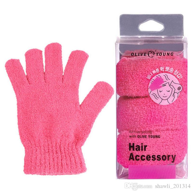 1pc Shower Bath Gloves Exfoliating Wash Skin Spa Massage Scrub Body Scrubber Glove with box Bathroom Cleaning Accessories