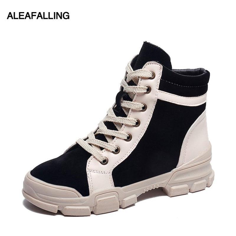 Aleafalling зимы женщин сапоги Узелок Flock кроссовки Простые Смарт Обувь для девочек Высокая труба Pu Кожа Весна Осень сапоги WBT382