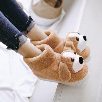 코튼 슬리퍼, 남자와 여자, 미끄럼 방지 벨트, 발 뒤꿈치, 개, 아이, 귀여운 만화 가방, 따뜻한, 큰 소년, 남성, 가정 신발
