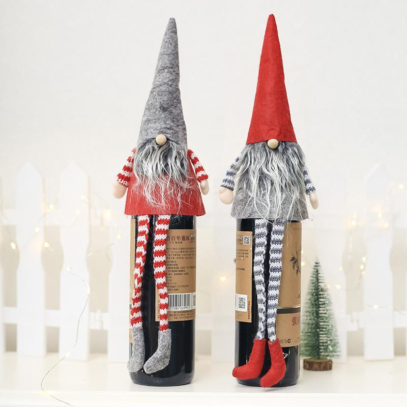 Christmas Wine Bottle Cover Set 2019 Xmas Santa Claus Snowman Deer Bottle Decor Clothes Kitchen Decor for New Year Dinner Party