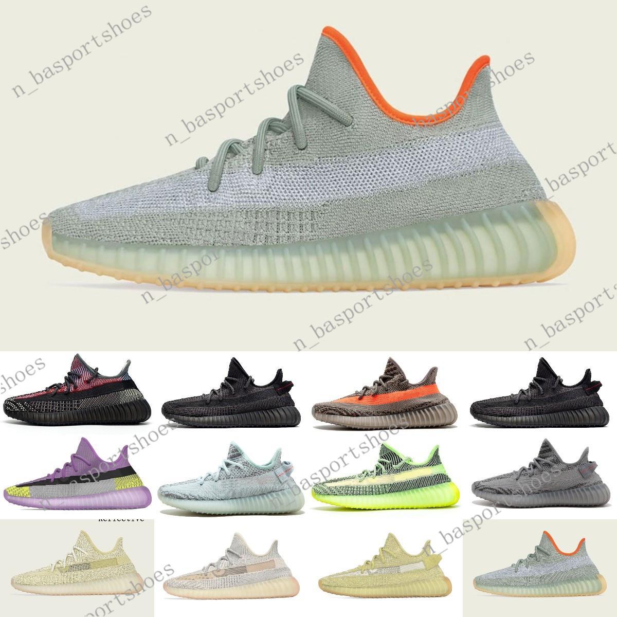 2020 nuevos Yeehu yecheil estática negro reflectante 3M Kanye West zapatillas GID brillan verdadera forma de arcilla de mantequilla de los hombres zapatillas de deporte de veinte # 0015