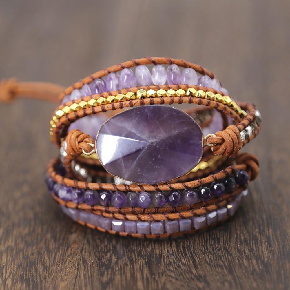 Frauen-Armband-justierbare vorzügliche Dekor Healing Handgelenk tragbare Mode-Kunstleder-Stein Perlen Handgefertigte Strands Wrap