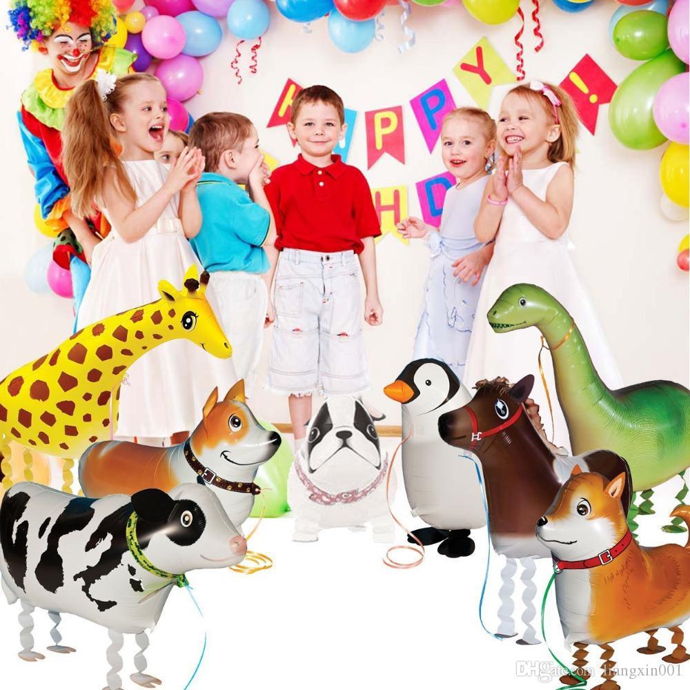 Çocuklar Hediye Yürüyüş Hayvan Balonlar Sevimli Kedi Köpek Tavşan Panda Dinozor Kaplan Balonlar Pet Topları Parti Mutlu Doğum Günü Dekorasyon