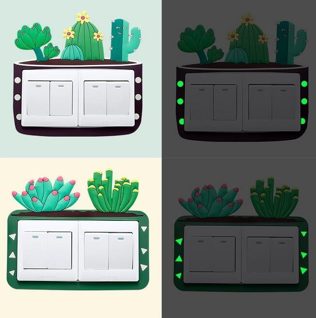 Cactus de dibujos animados 3D fluorescente encendido-apagado de doble pegatinas Niños luminoso interruptor de la luz del enchufe de pared pegatinas de habitaciones la decoración del hogar