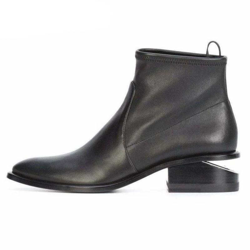 عالية الجودة المرأة جلد الغنم جلد طبيعي أحذية الكاحل غريب الكعوب المدببة أحذية تو الجلود والأزياء أنثى أحذية شتاء