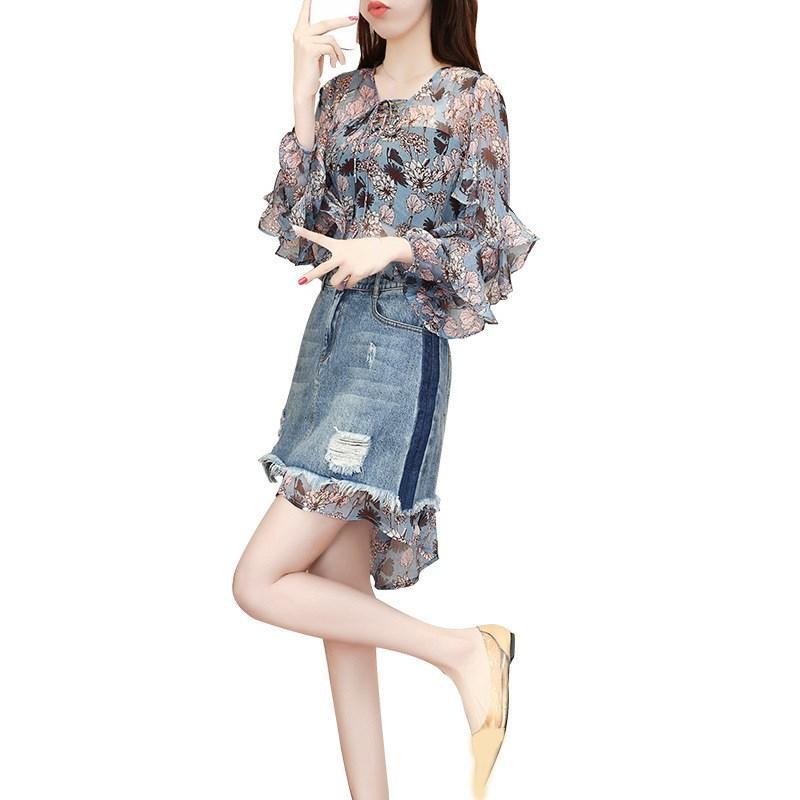 Mujeres de la gasa de la vendimia vestido de dril de algodón de la falda de encaje Up Jeans Agujero mini falda Conjunto Vestido estampado de flores de 2 piezas