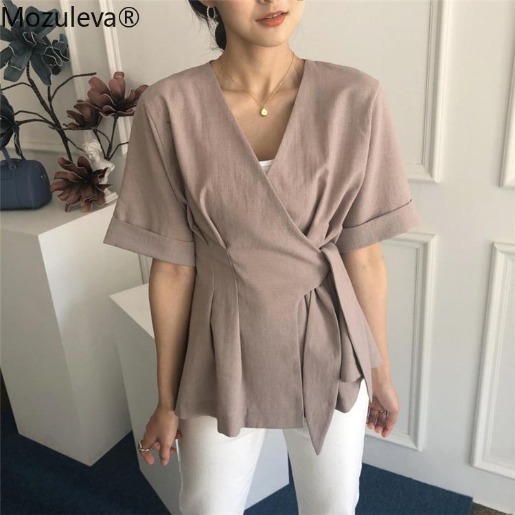 المرأة البلوزات قمصان موزوليفا الصيف الخامس الرقبة الصلبة المألوف الكورية نمط عارضة غير النظامية الدانتيل يصل قمم 2021 فام