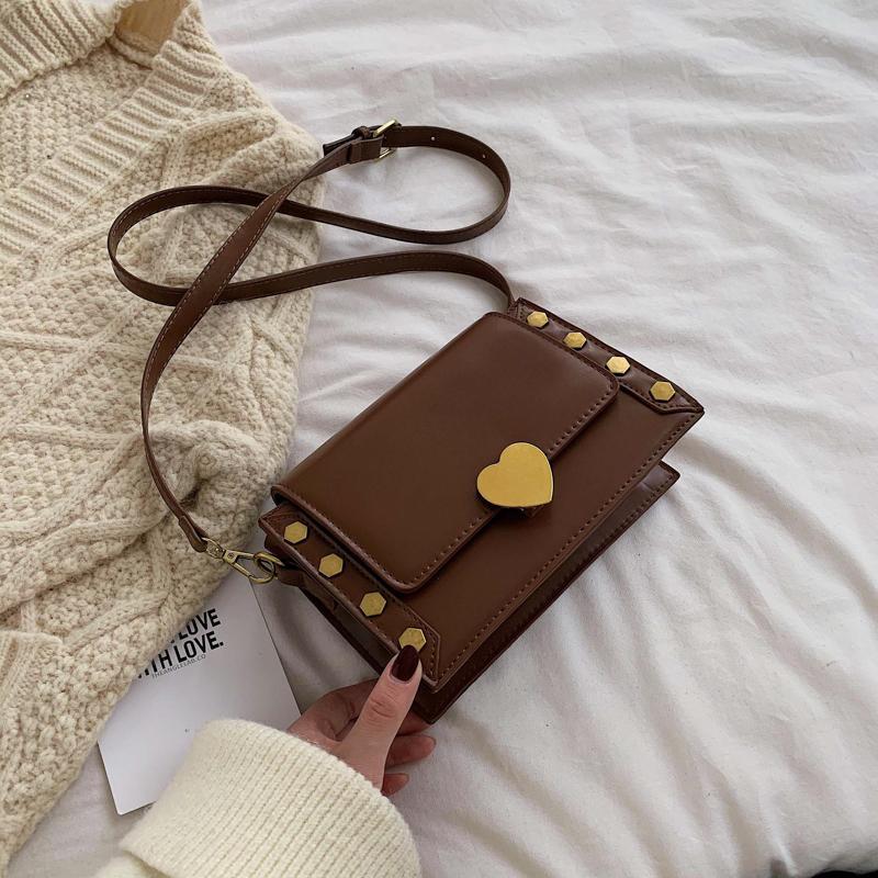 2019 kış yeni moda bayan omuz çantası perçin telefon çantası Retro cüzdan küçük kare