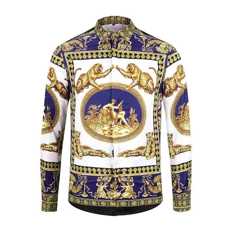 k4 Brand New Mens Dress Shirts Art und Weise beiläufigen Hemd-Männer Medusa Shirts Goldblumen drucken Slim Fit Shirts Männer
