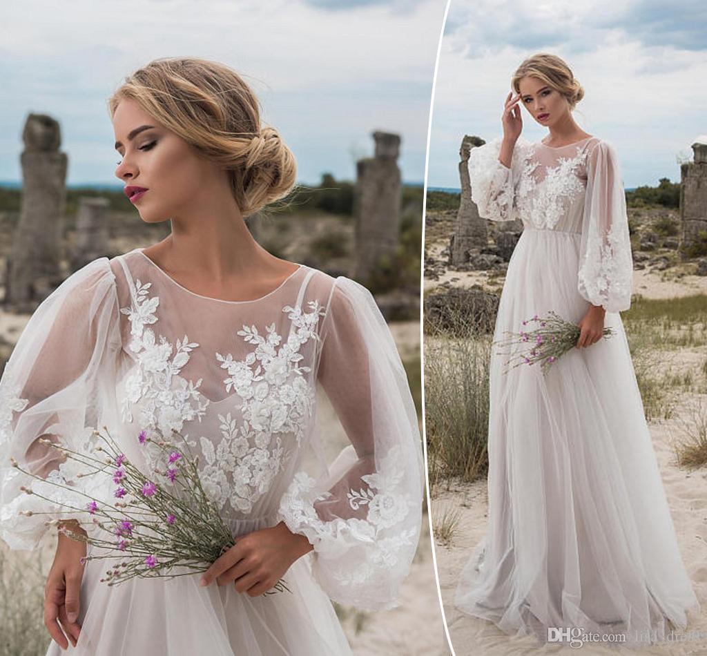 2020 pas cher boho moderne manches longues robes de mariée bohème plage robes Appliques de mariage d'été Robes de mariée robe de mariée