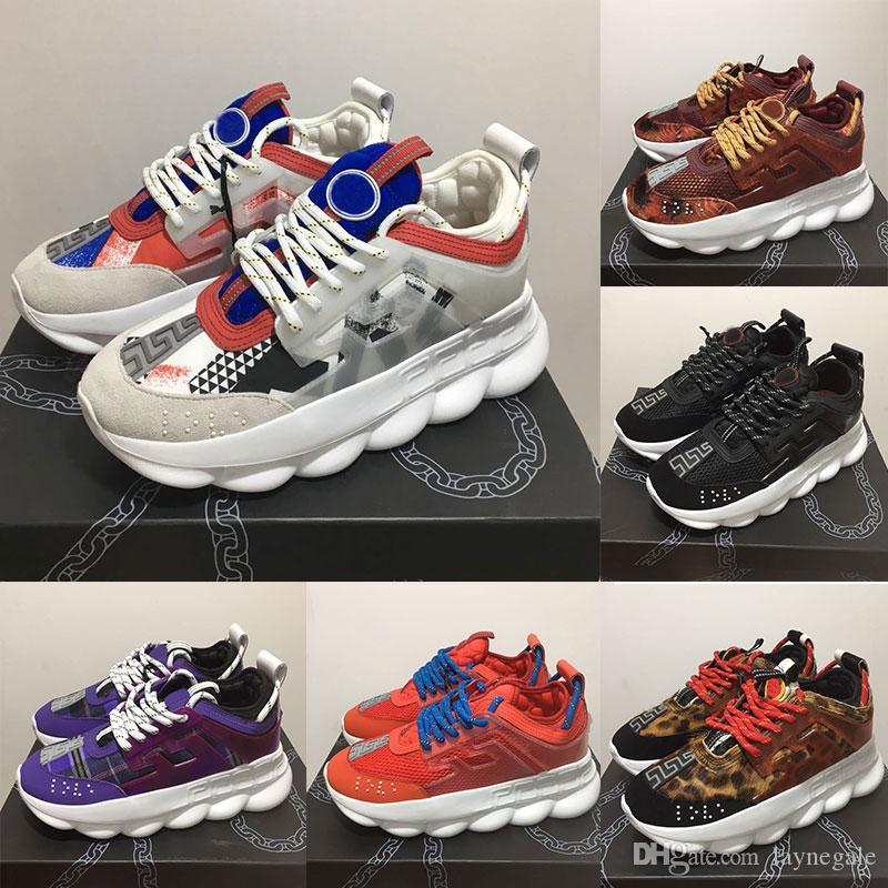 2cfdd75c803 Versace Chain Reaction Designer Sneakers Sports Fashion Casual Shoes Red  Black Bule Purple Trainer Lightweight Link Embossed Sole Size 5.5 11  Platform ...