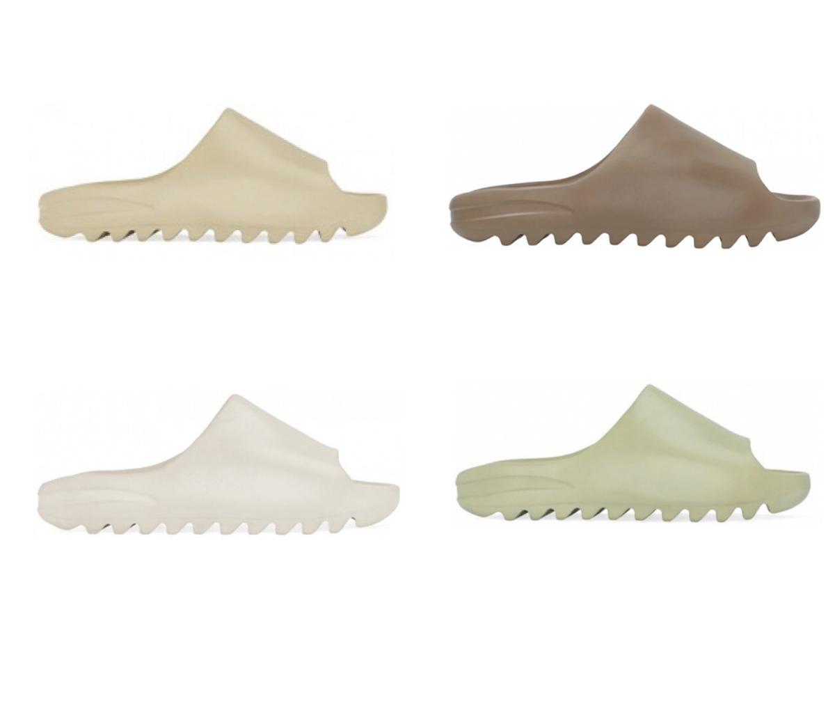 2020 Schuhe Slides Sommer-Strand-Innenflach G Sandalen Slide Knochen HARZ EATRH BROWN Wüstensand Slippers Haus Flip Flops Spike Sandale