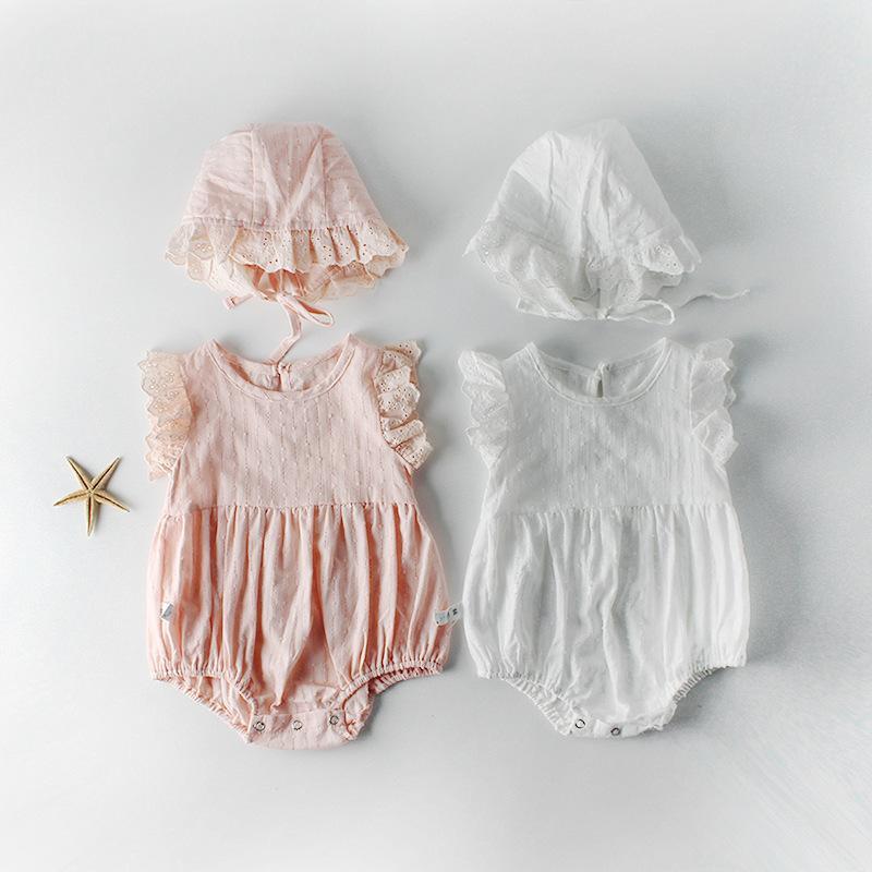 طفل تسلق الملابس فتاة الاطفال رومبير الطائر بلا أكمام الصيف الصلبة اللون رومبير + قبعة 100٪ القطن ثوب فضفاض للفتاة طفل 0-2T