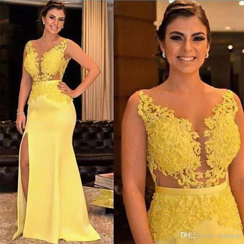 Charming Yellow 2019 Mother of the Bride Dresses Lace Appliques Beaded Formal Split Satin Evening Gowns Wedding Guest Dress