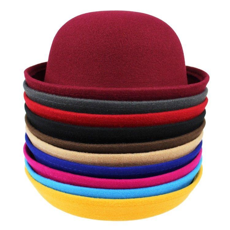 2016 Vintage Women Lady Cute Trendy Wool Felt Bowler Fedora Hat Cap Spring Hats Caps 9 Colors In Stock 20