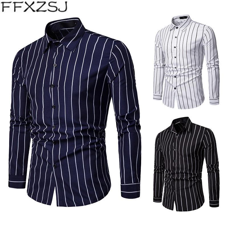 FFXZSJ Brand Men's casual personality spring and autumn stripe casual long-sleeved shirt Turn-down Collar Single Breasted shirt